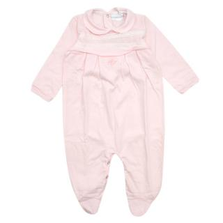 La Perla Pink Soft Cotton Embroidered Baby Grow