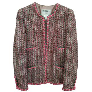 Chanel Pink & Green Tweed Braided Trim Tailored Jacket