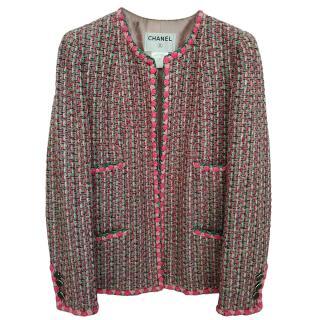 Chanel Pink & Green Tweed Braided Trim Tailored Jacket