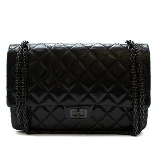 Chanel Black Aged Patent Calfskin So Black Large Reissue 2.55 Bag
