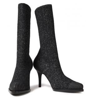 Chloe Glitter Knit Black Tracy Logo Sock Boots