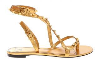 Valentino Metallic Gold Calfskin Flat Sandals