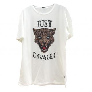 Just Cavalli Mens White Tiger Head T-Shirt