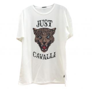 Just Cavalli Mens White Tiger Head T-Shirt