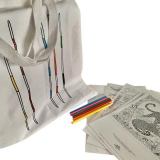 Hermes Printed Canvas Tote & Colouring Gift Set