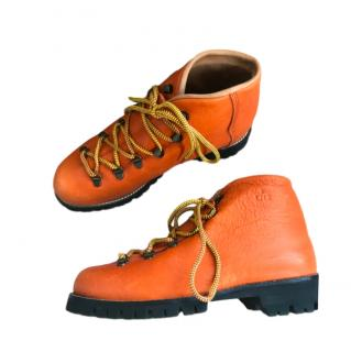 Ogier Orange Leather Lace-Up Hiking Boots