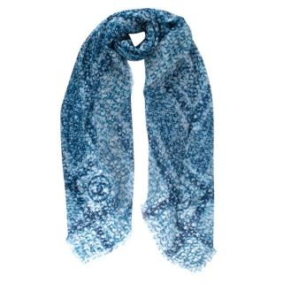 Chanel Blue & White Cashmere Tweed Print Shawl