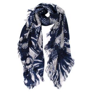 Chanel Blue & Silver Silk Tweed Print Logo Scarf