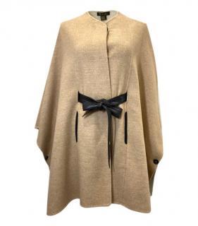 Loro Piana Beige Leather Trimmed Cape Coat