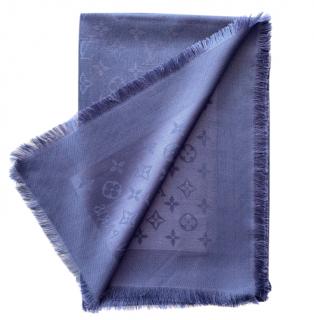 Louis Vuitton Monogram blue silk & wool blend shawl