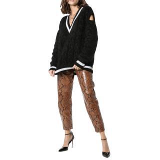 Balmain Wool Blend Cut-Out Fluffy Knit Jumper