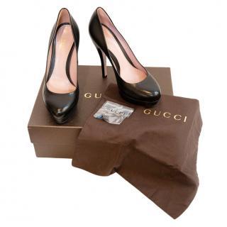 Gucci Black Leather Platform Pumps