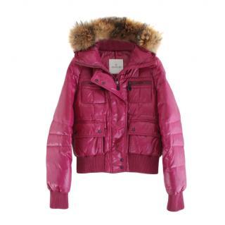 Moncler Pink Fur Trimmed Georgia Down Jacket