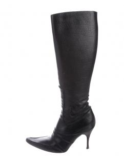 Bottega Veneta Dark Brown Leather Knee Boots