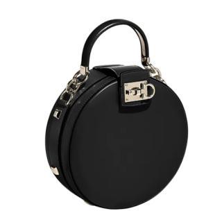 Salvatore Ferragamo Black Calfskin Round Studio Shoulder Bag