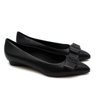 Salvatore Ferragamo Black Leather Viva Ballet Flats