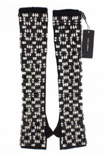 Dolce & Gabbana Black Cashmere Crystal Embellished Fingerless Gloves