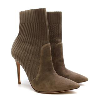 Gianvito Rossi Brown Knit & Suede Katie Ankle Boots