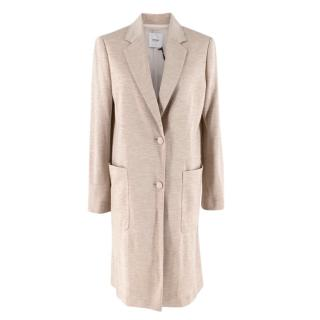 Agnona Beige Silk & Cashmere Blend Jersey Coat