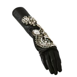 Dolce & Gabbana Crystal Embellished Leather Elbow Gloves