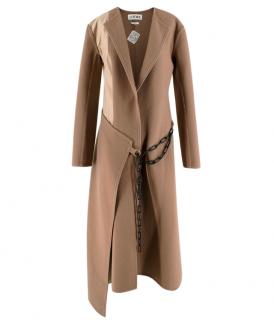 Loewe Beige Wool Blend Double Face Chain Wrap Coat