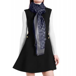 Louis Vuitton Blue Silk & Wool Blend Monogram Shine Shawl