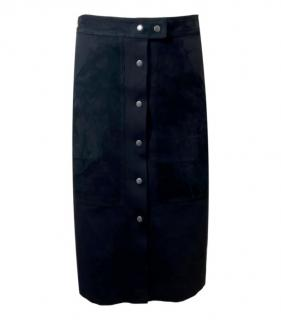 Theory Leather Trimmed Button Down Skirt