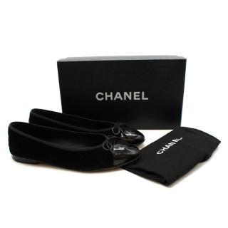 Chanel Black Velvet CC Ballerinas