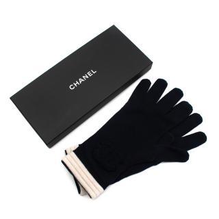 Chanel Navy/Ivory Cashmere CC Knit Gloves