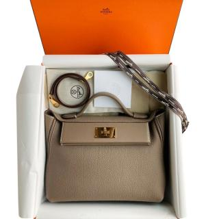 Hermes Etoupe Togo & Swift Leather 24/24 Bag GHW