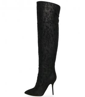 Dolce & Gabbana Black Lace Knee Boots