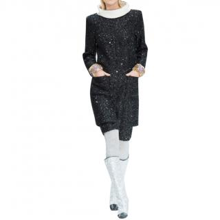 Chanel Sequin Fantasy Tweed Runway Dress with Detachable Ivory Collar