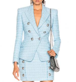 Balmain Pale Blue Tweed Double Breasted Jacket