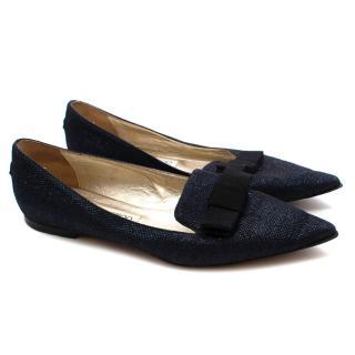 Jimmy Choo Blue Glitter Bow Detail Gala Flats