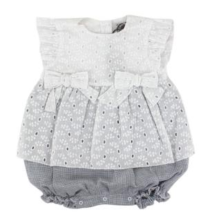 Jo Milano Grey and White Romper with Broderie Detail