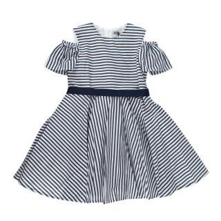 Jo Milano 4Y Striped Cotton Ribbon Tie Cold Shoulder Dress