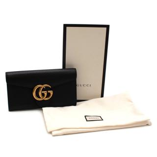 Gucci Black GG Marmont Grained Leather Long Wallet