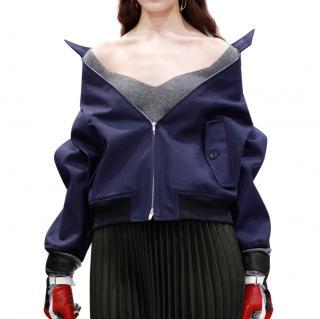 Balenciaga Heart Neck Grey Ribbed Wool Jumper