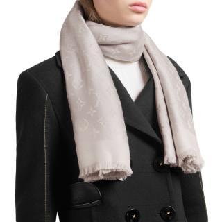 Louis Vuitton Greige Silk & Wool Blend Monogram Shawl