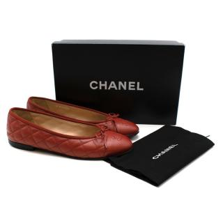 Chanel Red Caviar Leather Quilted CC Ballerinas