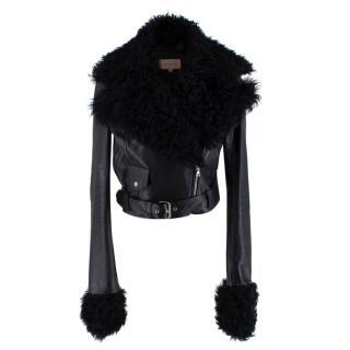 Christopher Kane Black Shearling Trimmed Leather Biker Jacket