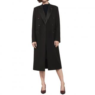 Victoria Beckham Black Wool & Mohair Blend Tailored Tuxedo Coat