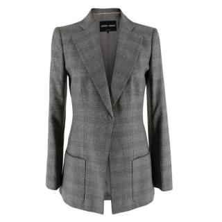 Giorgio Armani Grey Checkered Wool Single Breasted Tailored Jacket