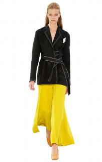 Celine by Phoebe Philo Runway White Contrast Stitching Kimono Jacket