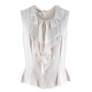Chanel Ivory Silk Ruffled Sleeveless Blouse