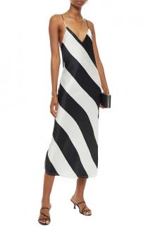 Dodo Bar Or Black & White Striped Silk Slip Dress