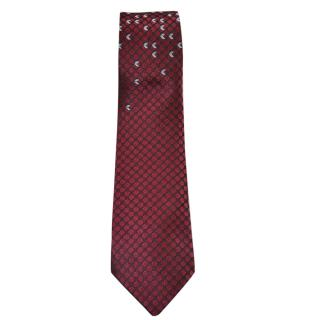 Bottega Veneta Woven Print Burgundy Silk Tie