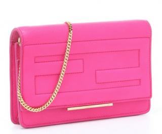 Fendi Hot pink 'Macro' tubed logo convertible shoulder bag