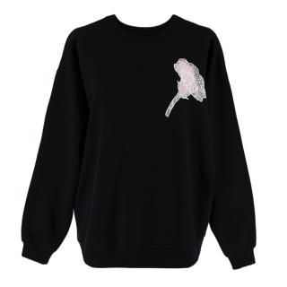 Christopher Kane Sheer Black Lace Flower Applique Sweatshirt