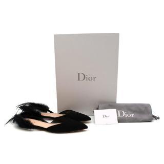 Christian Dior Black Suede & Feather Ethnie Flats